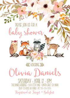 Woodland Baby shower Invitations, Invitation for woodland theme baby shower, girl baby Invites by LovelyPaperShop