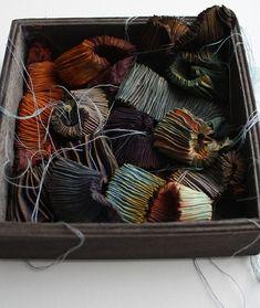 a box of autumn colour, stitched bundles