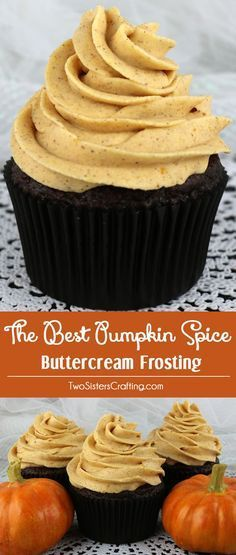 The Best Pumpkin Spice Buttercream Frosting - Sweet, creamy, pumpkin-y, spicy and delicious. This pumpkin frosting is a great choice for any Fall cake or cupcake! This is a traditional homemade butter cream frosting that your friends and family will rave
