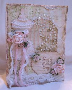Shabby Vintage Chic Mother's Day Card - who's mother would not like this? Shabby Chic Karten, Shabby Chic Cards, Decoupage, Sewing Cards, Dress Card, Shabby Vintage, Vintage Theme, Vintage Dress, Beautiful Handmade Cards
