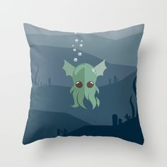 Cthulhu Throw Pillow - Lovable Legends, mythical creature, octopus, demon, tentacles, legend, sea, ocean, water, seaweed, squid, cute, baby cthulu, art, design, vector, illustration