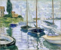 "Monet ""Boats at Rest at Petit Gennevilliers"" 1872  -getting to know impressionists masters"