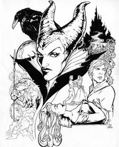Maleficent/sleeping beauty artwork, not sure who the original artist is.  Want for half sleeve after a few minor adjustments!