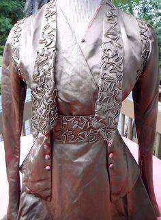 * Rare *  Stunning bronze silk walking suit...ribbon embroidery TLC   c. 1915