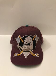 VTG-RARE 90 s Anaheim Mighty Ducks BIG Double Logo Snapback Block Hat  NHL   02074bc7ed81