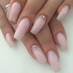 Blush Pink Coffin Nails with Rhinestone accents. Long nails are elegant. Love Love Love #nail #nailart