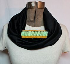 Neon Lime Fashion Infinity Scarf - Colorful Woven by pidgepidge