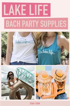 Headed to the lake for your besties bachelorette party? Find all the party supplies you need to deck out your bachelorette party pad and create favor bags the I Do Crew will love. Load up on adorable party shirts, cups, sunnies and more. Bachelorette Party Checklist, Bachelorette Party Supplies, Bachelorette Party Planning, Bachelorette Party Shirts, Bachelorette Party Decorations, Bachelorette Weekend, Lake Party, Lake Life, Spa Birthday