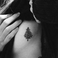 Elegant Pine Tree Ribs Tattoo - Everything