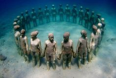 This is an underwater sculpture, in Grenada, in honor of the African Ancestors that were thrown overboard the slave ships during the Middle Passage of the African Holocaust.  Lest we forget, please 'share' to honor their memory.  See Nina Simone's site for more: http://www.ninasimone.com/2013/01/underwater-sculpture-in-honor-of-africans-thrown-overboard/     AND Grenada Underwater Sculpture Park's site:  http://grenadaunderwatersculpture.com/