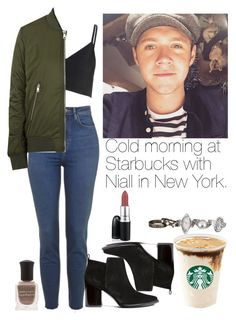 """Cold morning at Starbucks with Niall in New York."" by welove1 ❤ liked on Polyvore featuring мода, Glamorous, Topshop, H&M, maurices и Deborah Lippmann"
