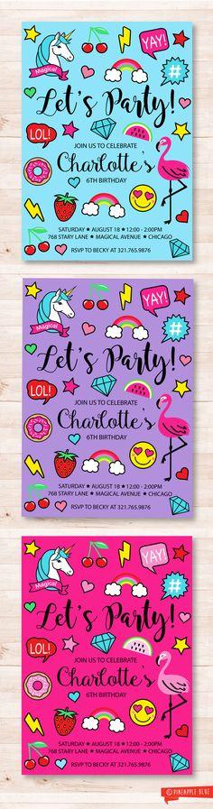 Emoji party invitation | Kids birthday invitation | Rainbow invitation | Unicorn Invitation | Donut Party | Kids birthday invitations
