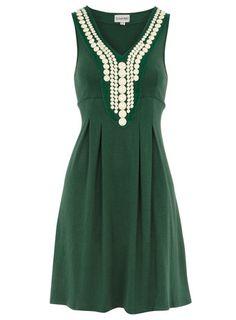 Green beaded tunic dress