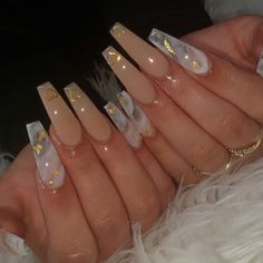 15 Shaped Stylish Nails Colors To Get You Inspired To Try Cute Acrylic Nail Designs, Simple Acrylic Nails, Summer Acrylic Nails, Best Acrylic Nails, Coffin Acrylic Nails Long, Long Nail Designs, Ballerina Acrylic Nails, Gold Coffin Nails, Aycrlic Nails