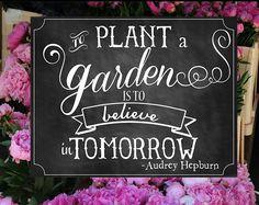 Spring Chalkboard Sign - To Plant a Garden is to Believe in Tomorrow- Audrey Hepburn Quote. Chalk Quotes, Painting Quotes, Chalk It Up, Chalk Art, Garden Art, Garden Plants, Garden Ideas, Garden Whimsy, Dream Garden