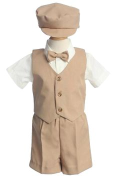 Khaki Tan Vest & Shorts Outfit 5 Pc with Cap (Baby or Toddler Boys)