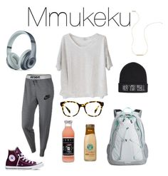 """Back to school"" by mmukeku on Polyvore featuring Converse, NIKE, Vans, Beats by Dr. Dre, Wish by Amanda Rose, Clu, Warby Parker, The North Face and college"