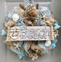 Beach Burlap Deco Mesh Wreath with Sea Shells, Seashell Wreath, Beach Wreath, Starfish Wreath