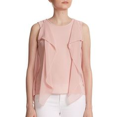 BCBGMAXAZRIA Ivorie Ruffled Tank Top ($66) ❤ liked on Polyvore featuring tops, apparel & accessories, pink tank top, sleeveless ruffle top, pink sleeveless top, pink ruffle tank top and sleeveless tank
