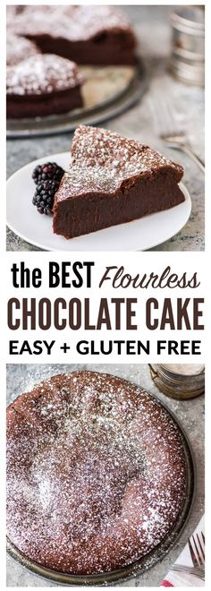The BEST Flourless Chocolate Torte recipe. This easy chocolate torte is foolproof, impressive, and SO decadent. A touch of almond extract makes this recipe special. Perfect on its own or with ganache or raspberry sauce. A gluten free chocolate dessert EVERYONE loves! #glutenfree #dessert #chocolate #recipe #cake