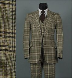 Vintage 1970s Mens Fashion Three 3 Piece Wool by jauntyrooster, $225.00