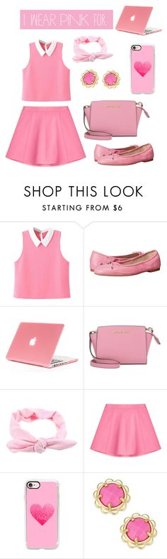 """I wear PINK for..."" by evelina-bikina ❤ liked on Polyvore featuring WithChic, Sam Edelman, MICHAEL Michael Kors, RED Valentino, Casetify, Kate Spade and IWearPinkFor"