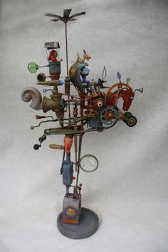 gérard collas -sculpteur-assemblage-cheval-machine