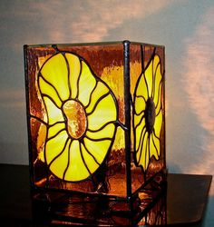 Stained Glass Lamp of Rhodonite Handmade Item Home by Levantese