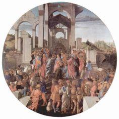 Sandro Botticelli.  Anbetung der Heiligen Drei Könige (London), Tondo. Um 1473, Tempera auf Holz, Durchmesser 131,5 cm. London, National Gallery.  Wahrscheinlich in Zusammenarbeit mit Filippino Lippi entstanden. Italien. Renaissance.  KO 02450