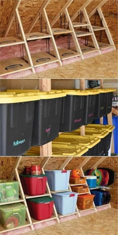 Perfect Ideas for Garage Storage The high level for garage storage ideas.The high level for garage storage ideas. Overhead Garage Storage, Garage Storage Solutions, Garage Storage Cabinets, Diy Garage Storage, Garage Shelving, Storage Hacks, Workshop Shelving, Garage Attic, Garage Walls