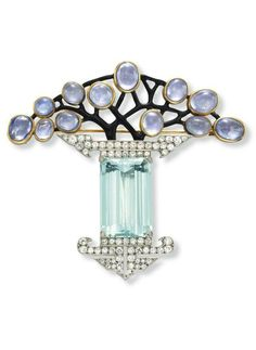 AN ART DECO AQUAMARINE, DIAMOND, PURPLE SAPPHIRE AND ENAMEL BROOCH, BY GEORGES FOUQUE. Centring upon a rectangular-cut aquamarine, with circular-cut diamond detail, to the cabochon purple sapphire and black enamel openwork plaque, mounted in platinum and 18k gold, with French assay mark, circa 1925, in a brown suede fitted Fouquet case. Signed G. Fouquet for Georges Fouquet. (=)