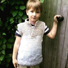 Купить вязаный жилет с градиентом ИванДаМарья - вязаный жилет, жилет с градиентом, жилет для мальчика