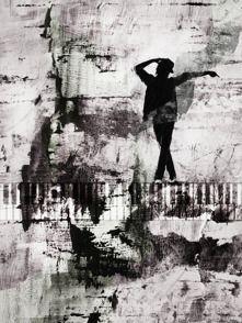 """Black or white"". Blandteknik i akryl. 35x25.  Monika Blomqvist ""Miqi"""