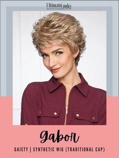 Loaded with softly curled layers that blend to a short, extended nape, this cool and comfortable cut is a joy to wear! #hairstyles #hairdo #hairoftheday #styleinspo #styles #styleoftheday #stylegram Gabor Wigs, Synthetic Wigs, Layers, Cap, Hairstyles, Traditional, How To Wear, Layering, Baseball Hat