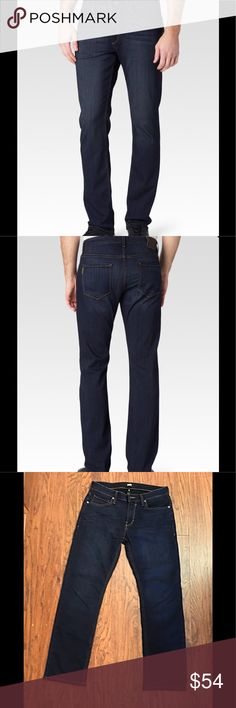 "PAIGE Normandie Men's Jeans Redefining the standards of luxury, the Federal jean features our innovative, TRANSCEND fiber technology that promises a luxuriously soft feel, comfortable fit and unyielding support. Shown in the super dark Reggie wash, the modern straight Normandie jean is comfortable around the hips and offers a slim straight fit through the leg. Front Rise: 10 1/4"". Inseam: 34"". Leg Opening: 16"". 10.5 oz TRANSCEND Fabric. 58% Rayon, 21% Cotton, 20% Polyester, 1% Spandex…"