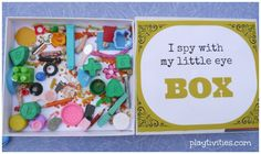 I spy with my little spy toy box - Make one by recycling those little toys that get separated
