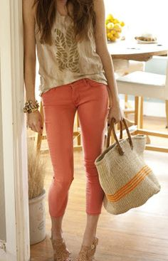 coral skinnies from express; don't know if I could pull off, but it is definitely worth trying.