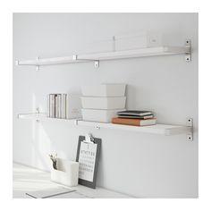 EKBY JÄRPEN / EKBY BJÄRNUM Wall shelf, white, aluminum white/aluminum 62 1/4x7 1/2