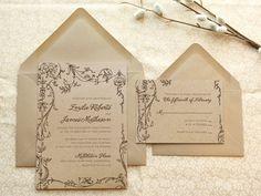 Fairytale Romance Kraft Garden Wedding Invitations by merrymint, $20.00