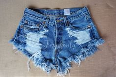 Levis high waisted shorts denim cutoffs shredded distressed Hipster soft Grunge goth clothing custom made to order by Jeansonly