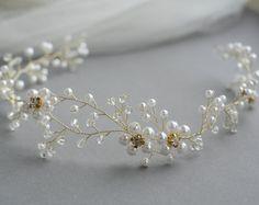 12_Pearl crown Pearl bridal wedding tiara Head piece