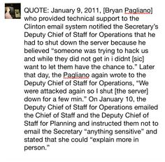 """May 25th, 2016: State Dept admits that Bryan Pagliano, who provided technical support to the Clinton email system notified the Secretary's Deputy Chief of Staff for Operations in 2011 that he had to shut down Clinton's secret email server because he believed """"someone was trying to hack us and while they did not get in i didnt want to let them have the chance to."""" Later that day, the advisor again wrote to the Deputy Chief of Staff for Operations, """"We were attacked again..."""" #dropoutHillary"""