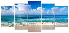 [Framed] Blue Sky Beach Seascape Large Picture Wall Art Canvas Prints Home Decor #Pyradecor #Impressionism