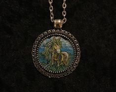 Horse Totem Pendant on a 24 inch Steel Chain