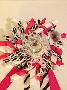 Girl baby shower via Etsy.this would be cute with leopard print ribbon! Bridget's Baby, My Baby Girl, Safari Theme, Printed Ribbon, Baby Shower Gender Reveal, Granddaughters, Girl Shower, Zebra Print, Corsage