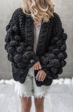 Comes in OneSize, Oversized Hand-knitted Mix-wool Machine (use a laundry bag) and hand washable Dry flat Do not bleach NOTICE: We hand-knit this product by order.