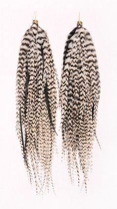 Boucles d'oreilles OWLITA Prairie Pheasant Large Black and White en plumes - Catalogue - Be.com