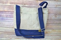 Linen Tote for your DSLR, Navy Waxed Canvas- waterproof, Very Vegan! by Darby Mack, Camera bag In stock
