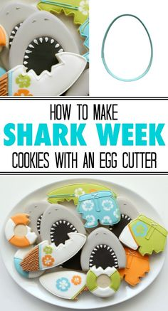 How to use a simple egg cutter to make shark cookies for Shark Week via Sweetsugarbelle.com