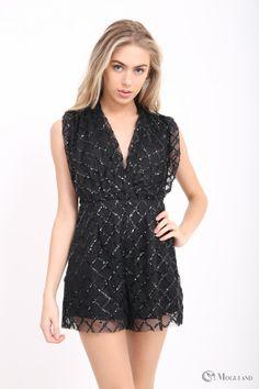21de9eef46 Ladies black sequin plunge exposed back playsuit wholesale - Women s  Wholesale Clothing Supplier